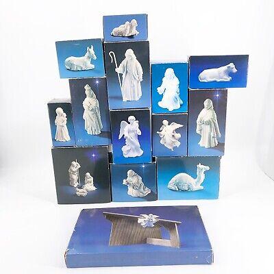 Vintage Avon White Porcelain Nativity 15 Piece Set w/ Wood Manger Stable 1980's