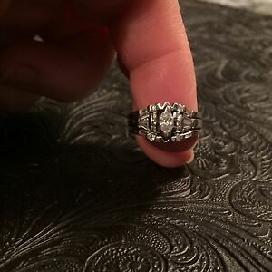 14kt. White Gold 3 ring wedding set