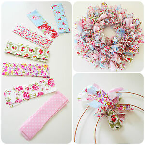 Make Your Own Handmade Shabby Chic EASTER RAG WREATH inc Cath Kidston Fabric