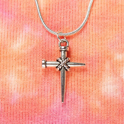 Cross of Nails Necklace, Holy Nail Christian Crucifix Charm Pendant men or women
