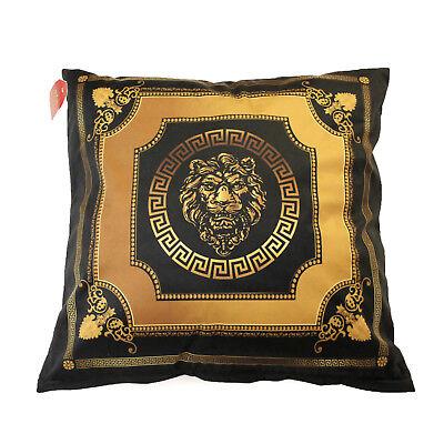 Exklusives Dekokissen 45x45 Klassisch Schwarz-Gold Löwe Mäander Medusa versac