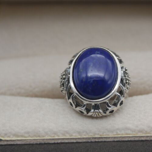 925 Sterling Silver Blue Lapis Gemstone Oval Solitaire Ring Size 4.5