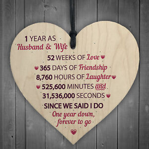 1st Wedding Anniversary Gift Wooden Heart First Wedding Anniversary Gift For Her