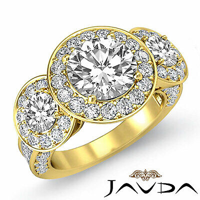 3 Stone Dazzling Round Diamond Solid Engagement Ring GIA G SI1 Platinum 2.3 ct 8