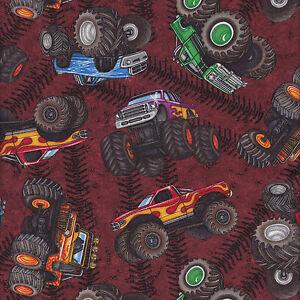 Monster trucks on burgundy wheels tyres boys kids quilt for Monster truck fabric