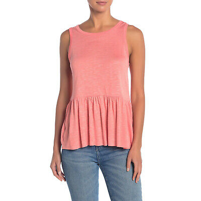 NWT Womens Size Small Nordstrom Hiatus Sleeveless Babydoll Peplum Tank Top Coral