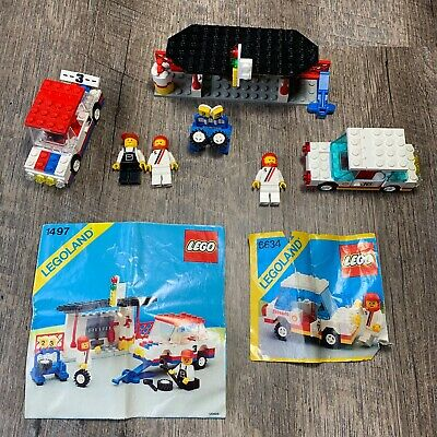 ** Vintage LEGO sets 1497 Classic Town Race Rally 6634 Stock Car + minifigures