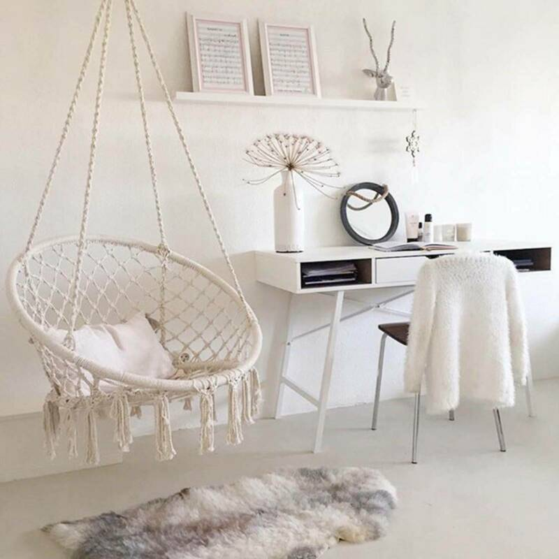 Hanging Macrame Hammock Chair Cotton Woven Rope Swing Chair Seat