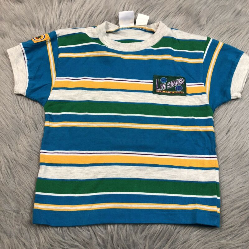 Vintage Toddler Boys Little Levis Blue Green Yellow Striped T Shirt