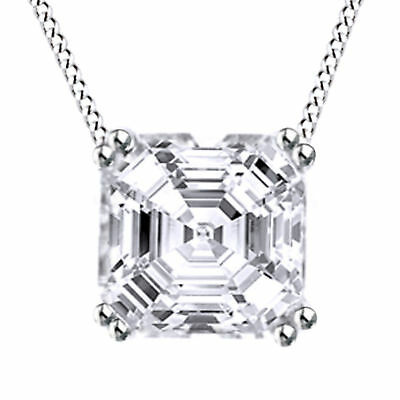 Summer Sale D/VVS1 Asscher Cut Diamond Solitaire Pendant Necklace Slide Chain