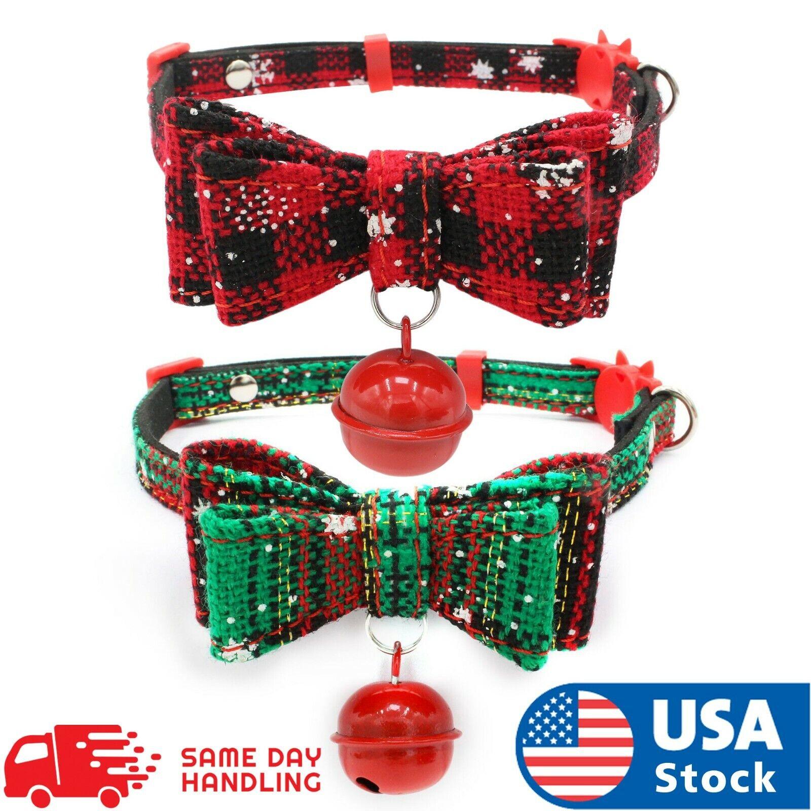 Christmas Dog Cat Pet Puppy Bowknot Necktie Break away Collar Bow Tie Necklace Collars