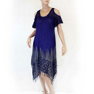 Advance Apparels Sundress Purple Open Shoulder Tie Dye Dress O/S fits XL/1X ()