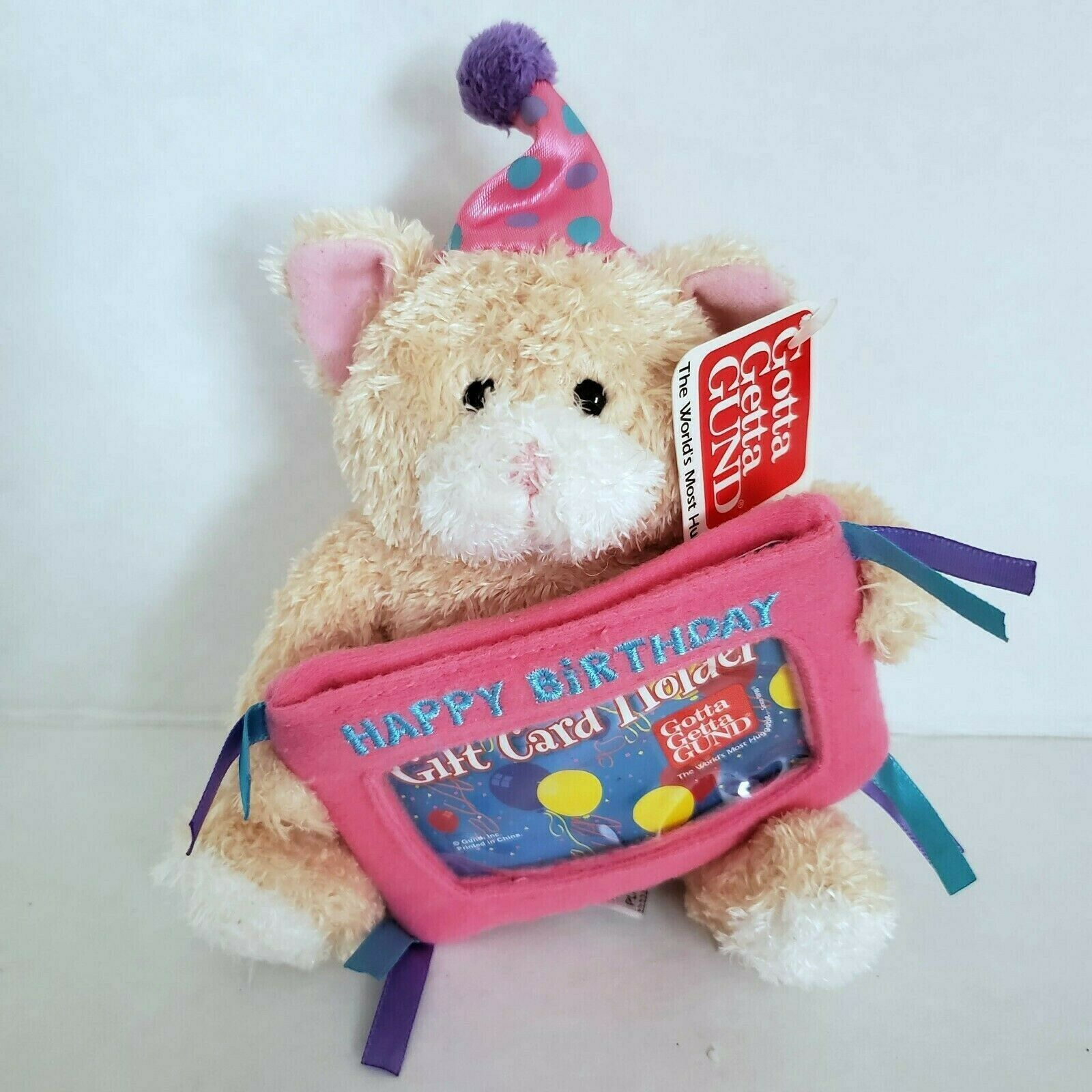 Gund Cool Cat Birthday Gift Card Holder Plush Stuffed Animal