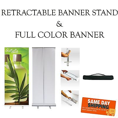 Retractable Pop-up Banner Stand -includes Print- Free Design - Same Day Sh
