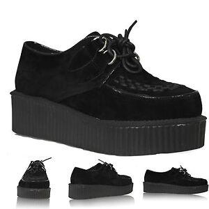 Nuevo-Para-Mujer-Damas-Plana-Plataforma-Cuna-lazada-Goth-Punk-Creepers-Zapatos-Botas