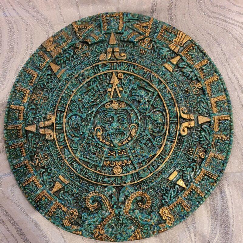 "VTG MAYAN Calendar Crushed Green Gold Malachite? Stone 11.5"" WALL HANGING-EUC"