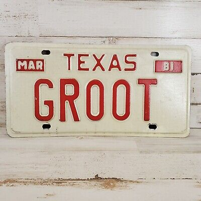 1981 Texas License Plate Personalized Groot Marvel Comic Guardians of the Galaxy