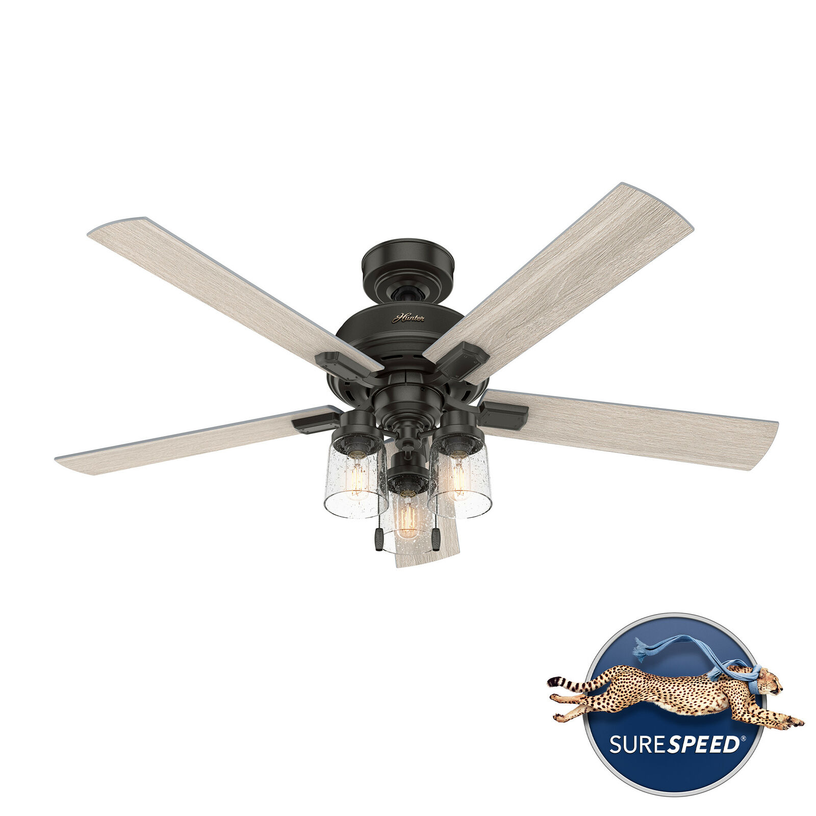 """52"""" Hartland Industrial Farmhouse Ceiling Fan with LED Light & Pull Chain"""
