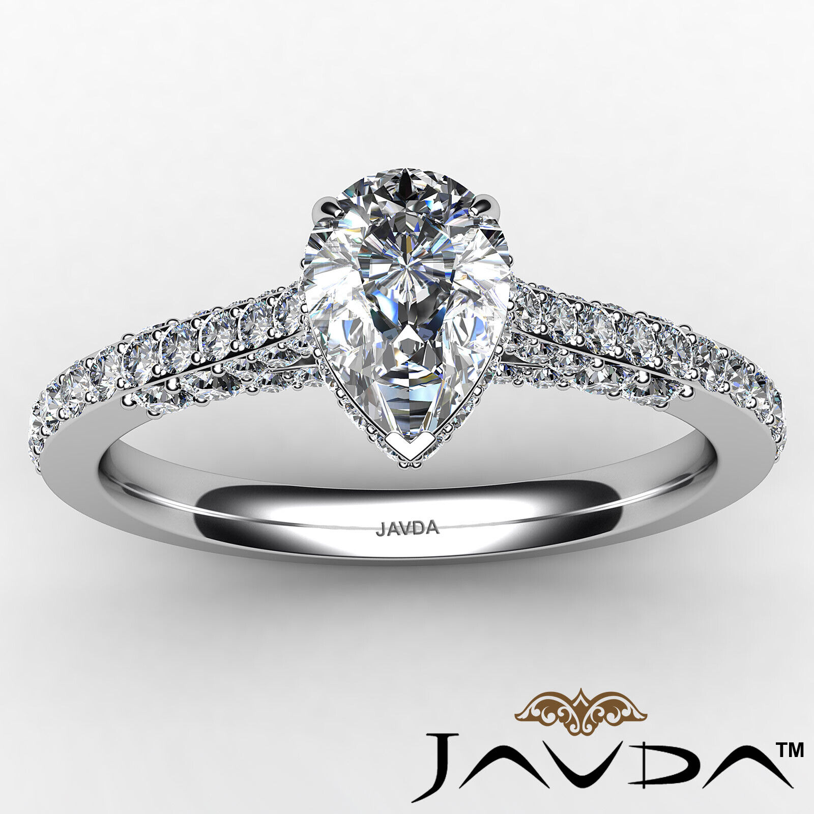 Pear Diamond Engagement Pave Ring GIA Certified H Color & VS2 clarity 1.06 ctw 9
