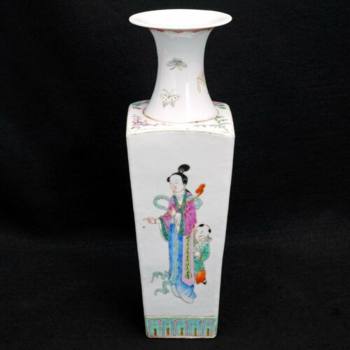 Chinese Early 20th C Kangxi-Style Polychrome Square Vase