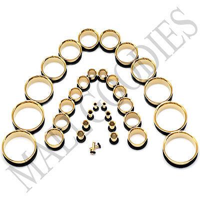 (V043 Gold Single Flare Flesh Tunnels Earlets Ear Plugs Big Gauges 10G ~ 2