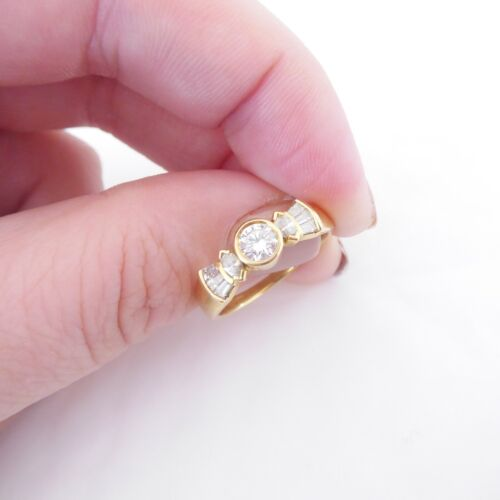 18ct gold 3/4ct diamond round marquise baguette cut solitaire ring, AS