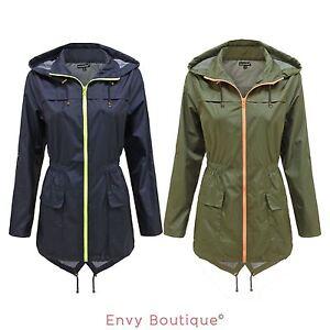 new ladies womens plain parka mac hooded waterproof raincoats fishtail