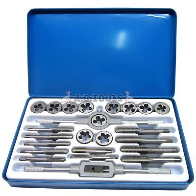 Unf Af And Unc Tap And Die 24pc Set Imperial With Metal Case Te104