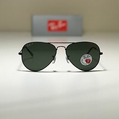 New Ray-Ban Aviator Classic Black RB3025 002/58 58-14 58mm POLARIZED Green G-15 (Ray Ban Aviator Classic Polarized Sunglasses)