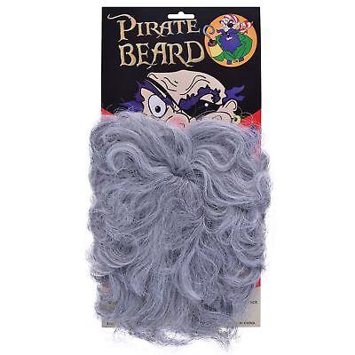 FAKE STICK ON GREY WAVY BUSHY PIRATE BEARD Mens Fancy - Fake Grey Beards