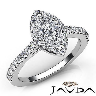 Halo French Pave Set Marquise Diamond Engagement Anniversary Ring GIA H VVS2 1Ct