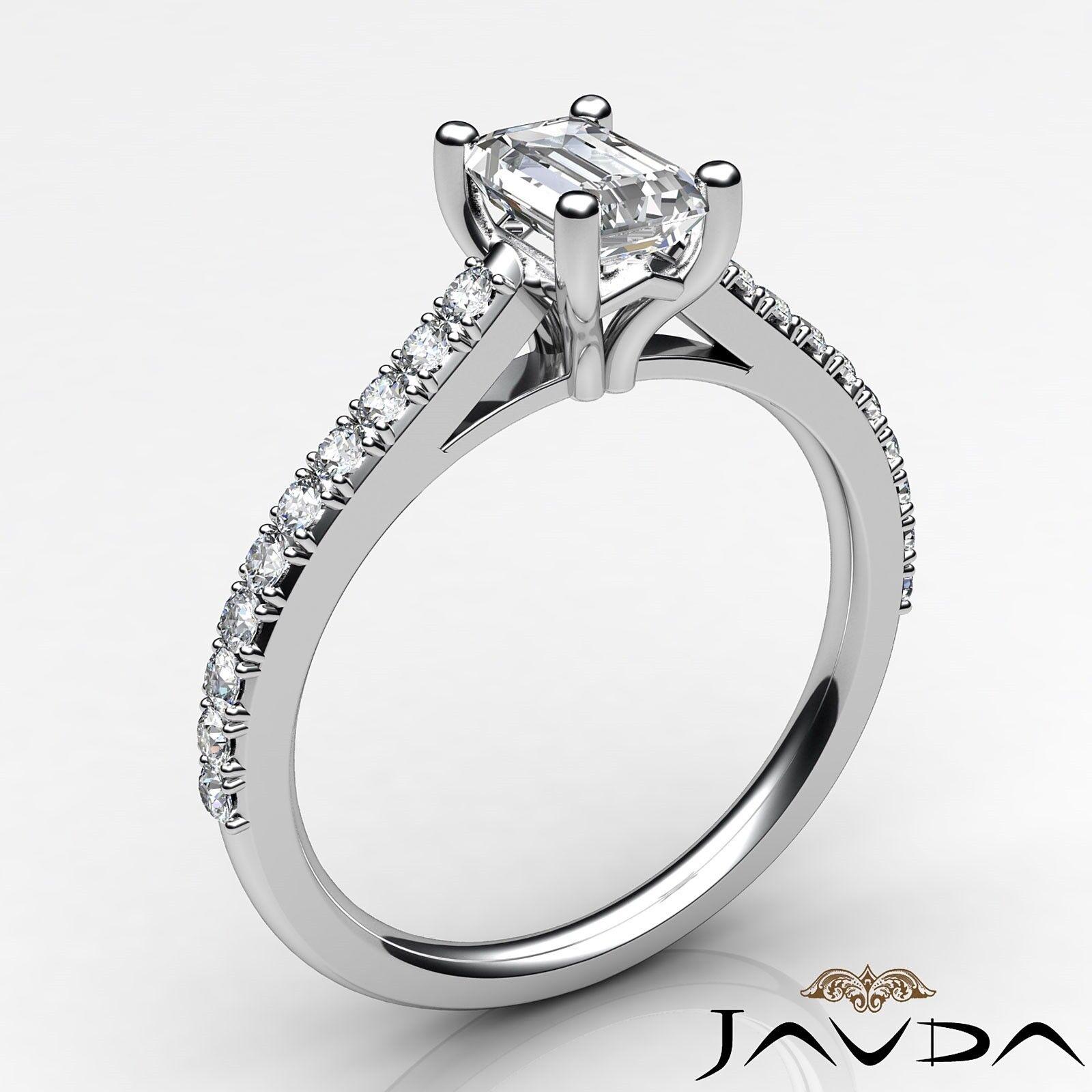 0.82ctw Classic Prong Set Emerald Diamond Engagement Ring GIA G-VVS2 White Gold 1