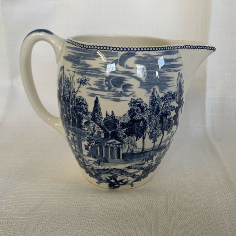 "Vintage Johnnson Brothers Blue & White Historic America Monticello 5"" Pitcher"