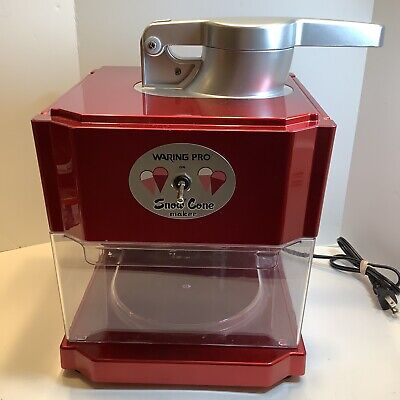 Waring Pro Snow Cone Maker In Red And Silver 140720 Excellent Clean Tested