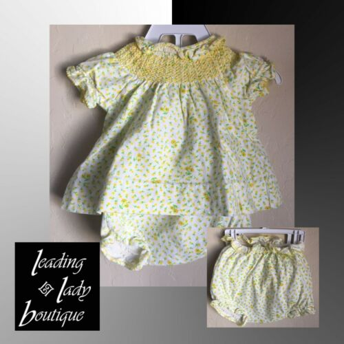 VTG Baby Girl Yellow Diaper Lined 2 Piece Clothing Set Carter