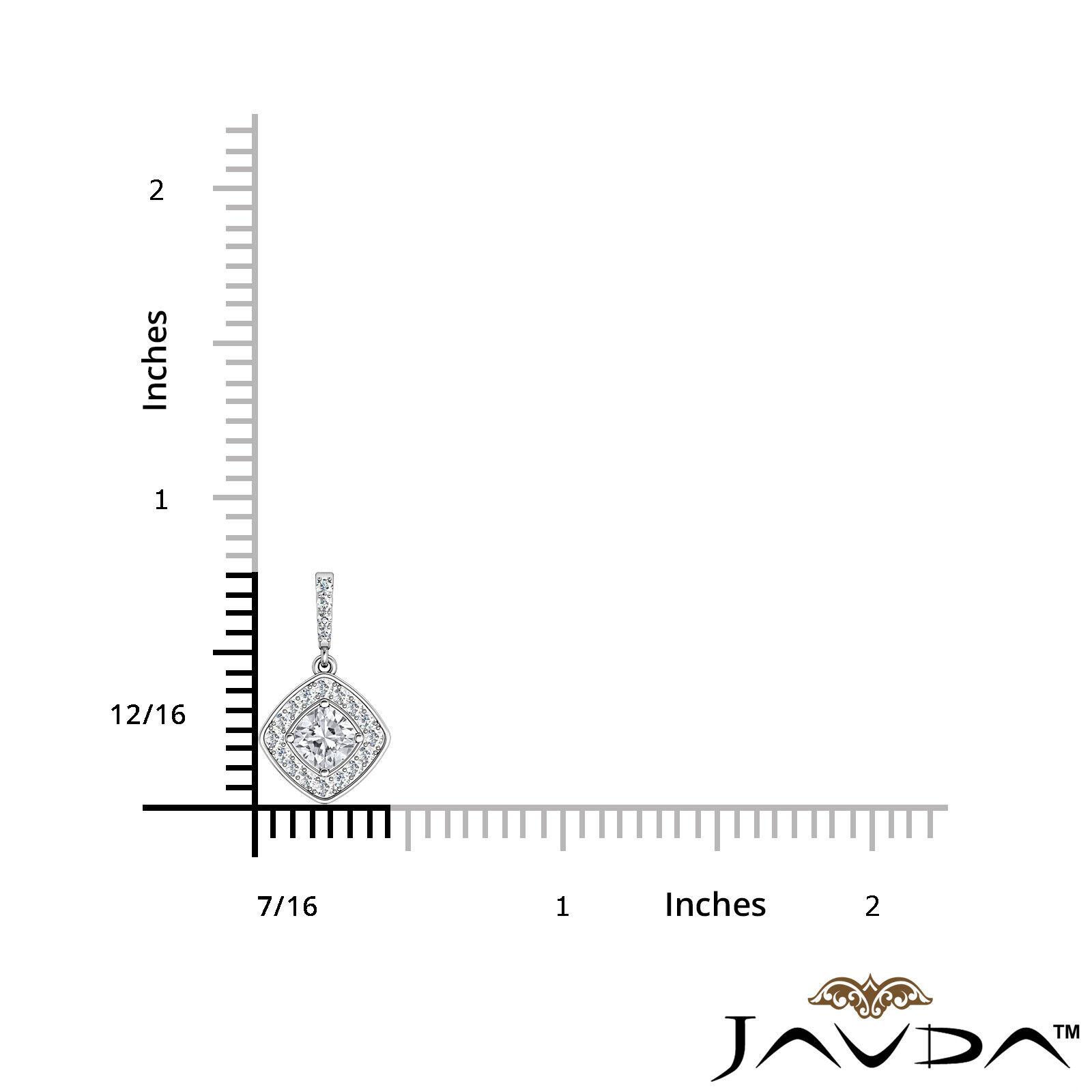 100% Natural Cushion Diamond Halo Micro Pave Setting Pendant Necklace 0.64ctw 6