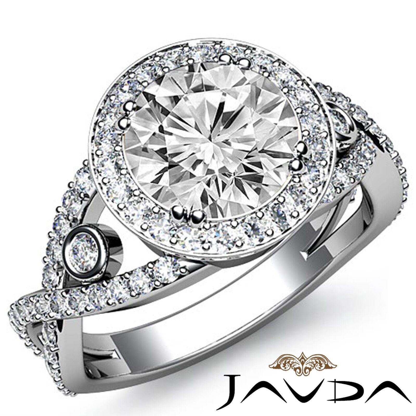 3.45ct Cross Shank Bezel Halo Round Diamond Engagement Ring GIA E-SI1 White Gold