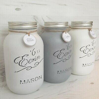 Tea Coffee Sugar Mason Jars - 1L Kitchen Canisters Grey Shades - Kilner (228930)