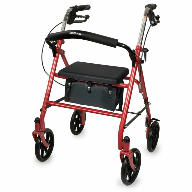 """McKesson Upright Rollator Walker 300 lbs. 31 to 35"""" Handle Height 146-10257RD-1"""