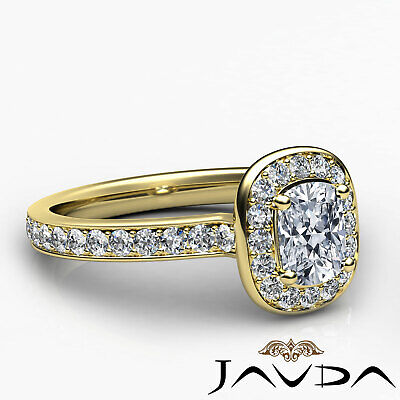 Cushion Diamond Engagement GIA G VS2 Halo Pave Set Ring 18k White Gold 0.87Ct 9