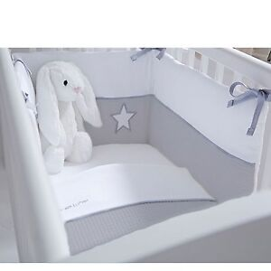 CLAIR DE LUNE LUXURY TWO PIECE QUILT AND BUMPER CRIB SET SILVER LINING GREY