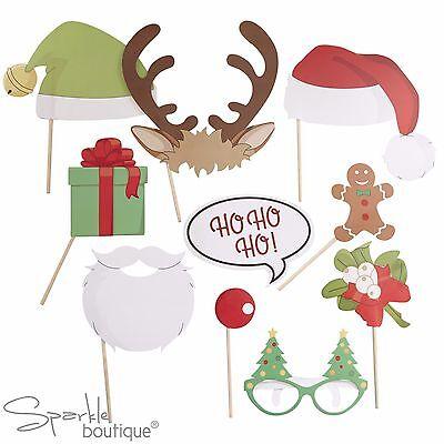 VINTAGE XMAS PHOTO BOOTH SET - Props inc Santa & Elf Hats, Antlers, Glasses Etc ()