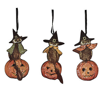 Set/3 Bethany Lowe Owl Witch Jack O'Lantern Halloween Home Decor Board Ornaments