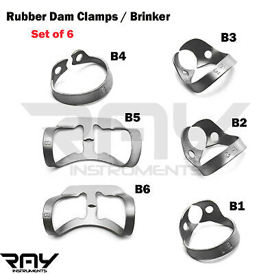 Dental Rubber Dam Clamps 6 Pcs Brinker Clamp Tissue Premolar Clamp Molar