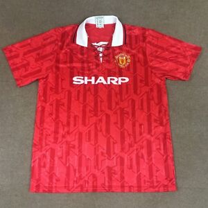 VTG Score Draw Eric Cantona Manchester United Soccer Jersey #7 Red Adult XL