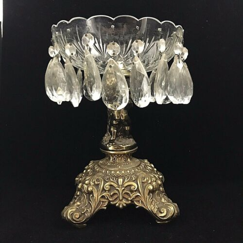 Antique Glass/Crystal Fruit/Candy Bowl 2 Cherubs Brass Pedestal Crystal Prisms