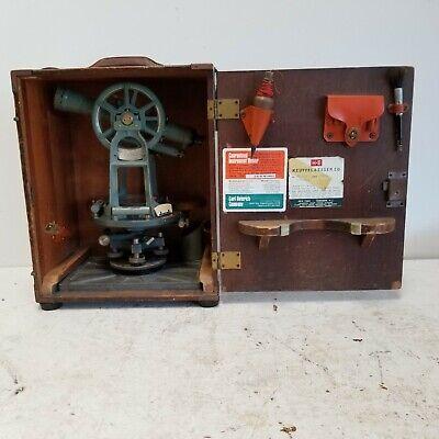 Vintage KEUFFEL & ESSER Paragon 74 Transit Theodolite Wood Case Key Accessories