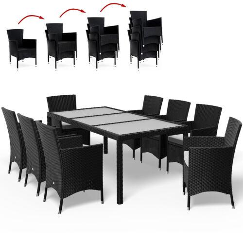 Poly Rattan Sitzgruppe Gartenmöbel Set Sitzgarnitur Essgruppe Garten 8+1 DEUBA