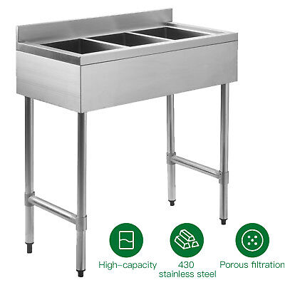 "Three 3 Compartment 10""x14""x10"" NSF Stainless Steel Commercial Kitchen Bar Sink"