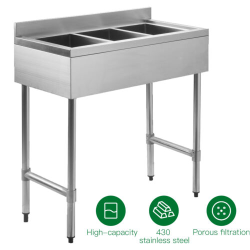 """Three 3 Compartment 10""""x14""""x10"""" NSF Stainless Steel Commercial Kitchen Bar Sink"""